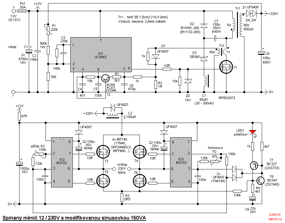 > circuits > Switching transformerless DC AC 12V 230V 150W