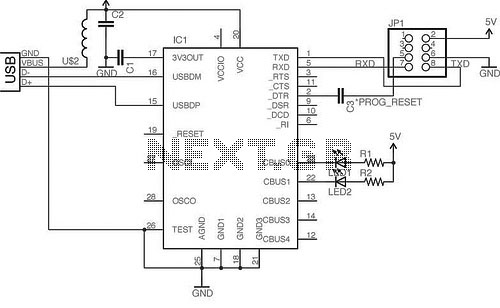 simple usb microcontrollers circuit