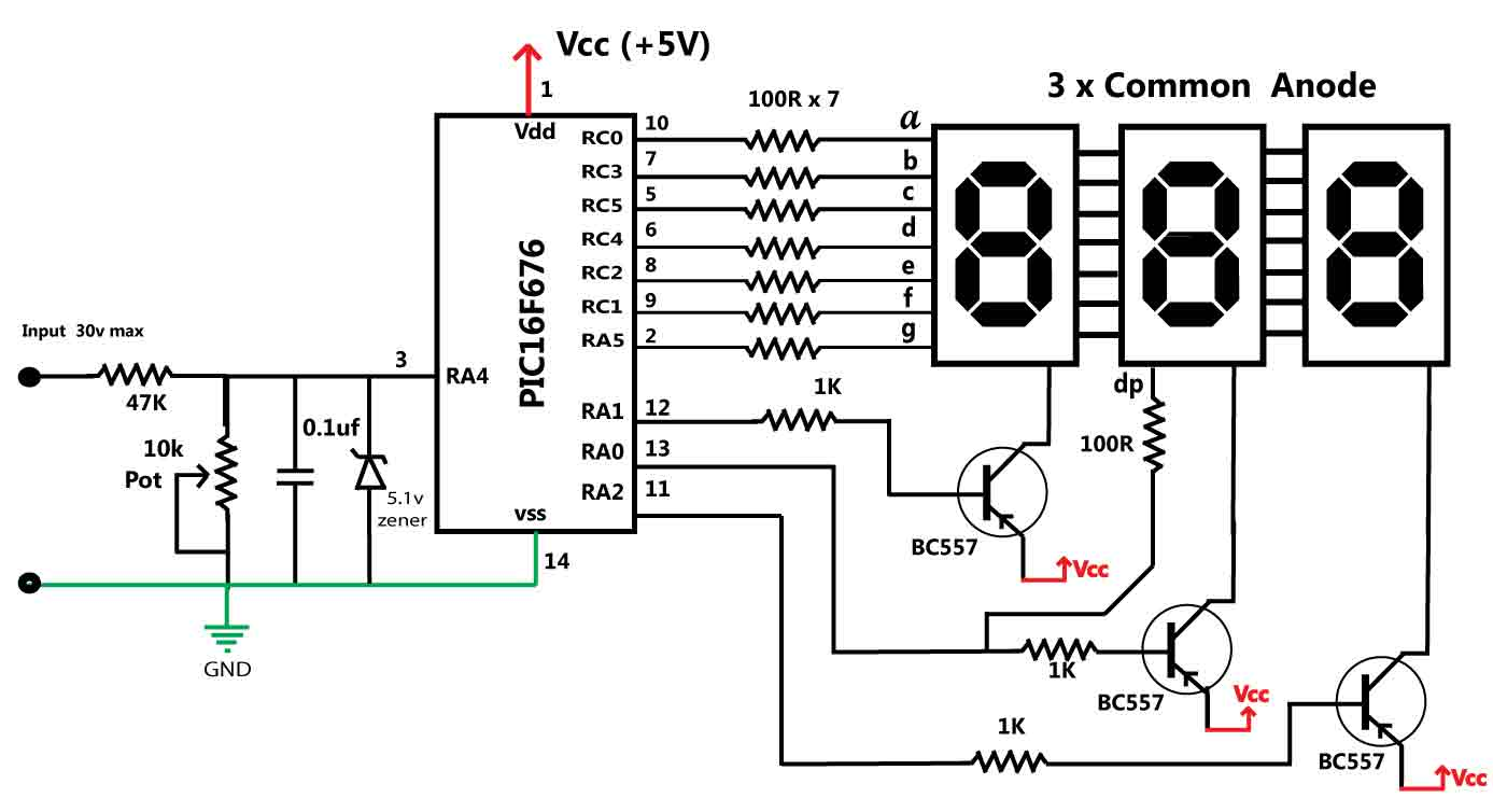 high power led driver circuit diagram toyota hilux wiring 2008 > circuits 30v volt meter with pic16f676 l25633 - next.gr