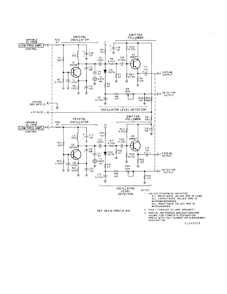 3.975-5.925 mHz oscillator circuit card schematic diagram