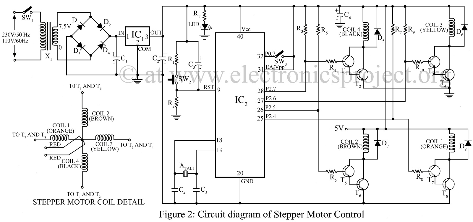 > circuits > Stepper motor control using microcontroller