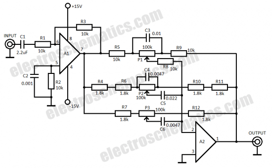 single op amp 3 band equalizer circuit