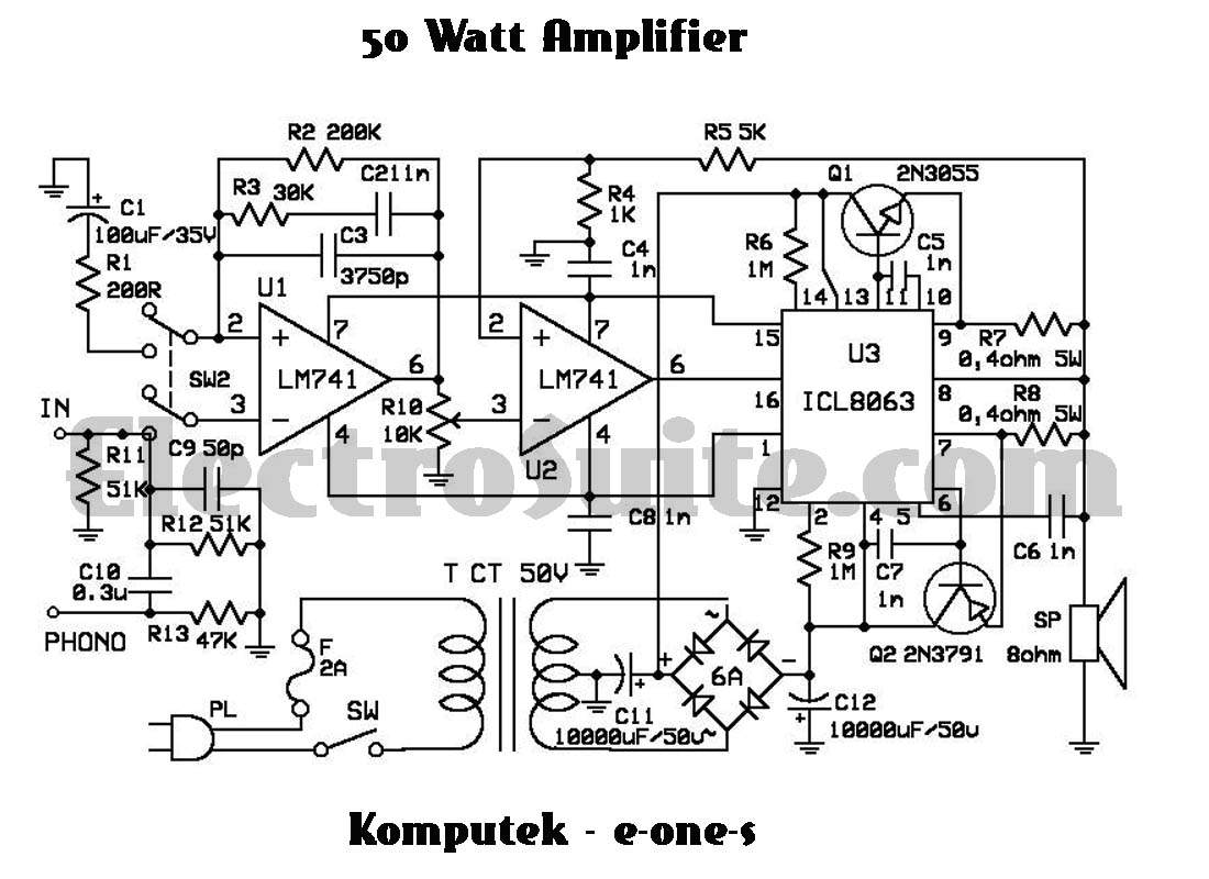 50W Amplifier using ICL8063 under Repository-circuits