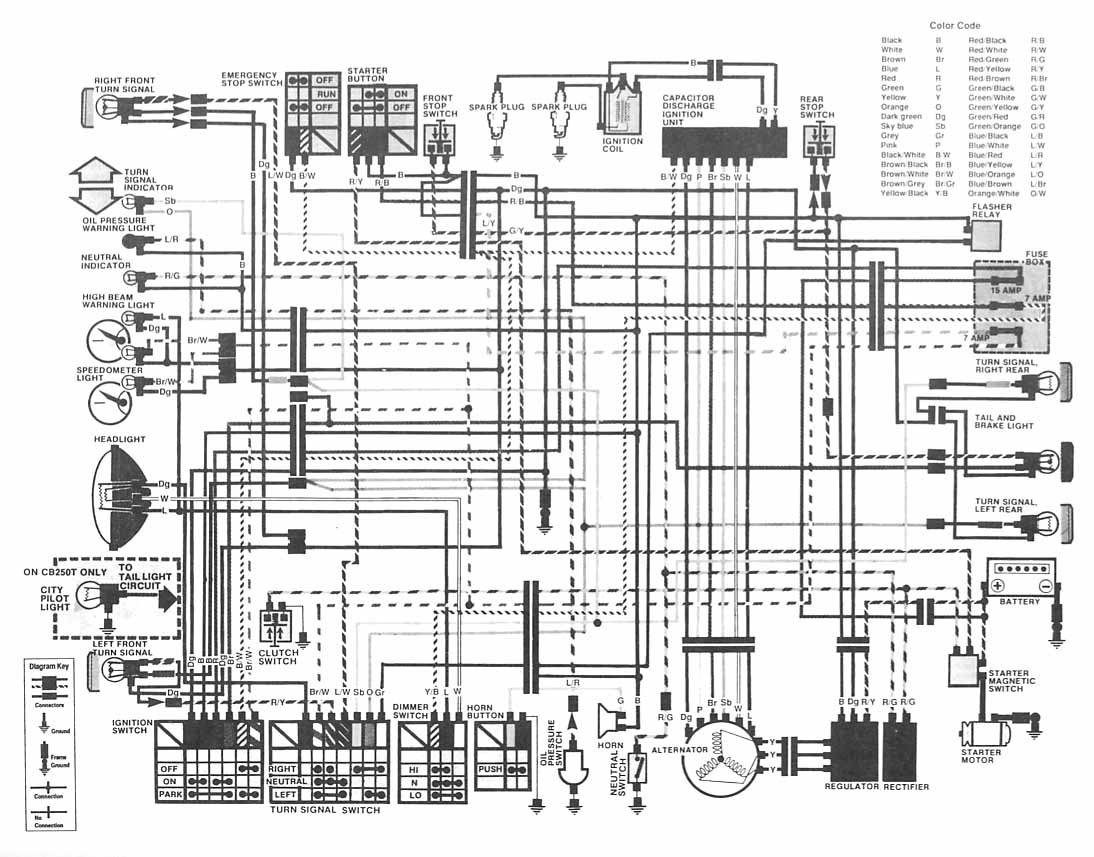 Honda Motorcycle CB400 (Hawk II) Wiring Diagram under