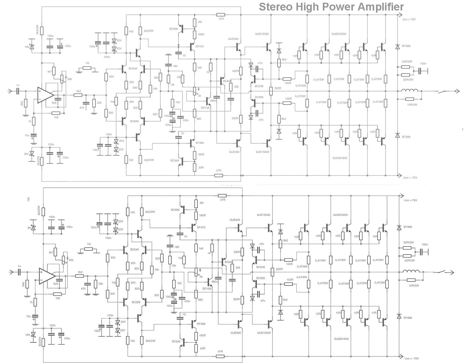 > circuits > stereo high power audio amplifier html l21320