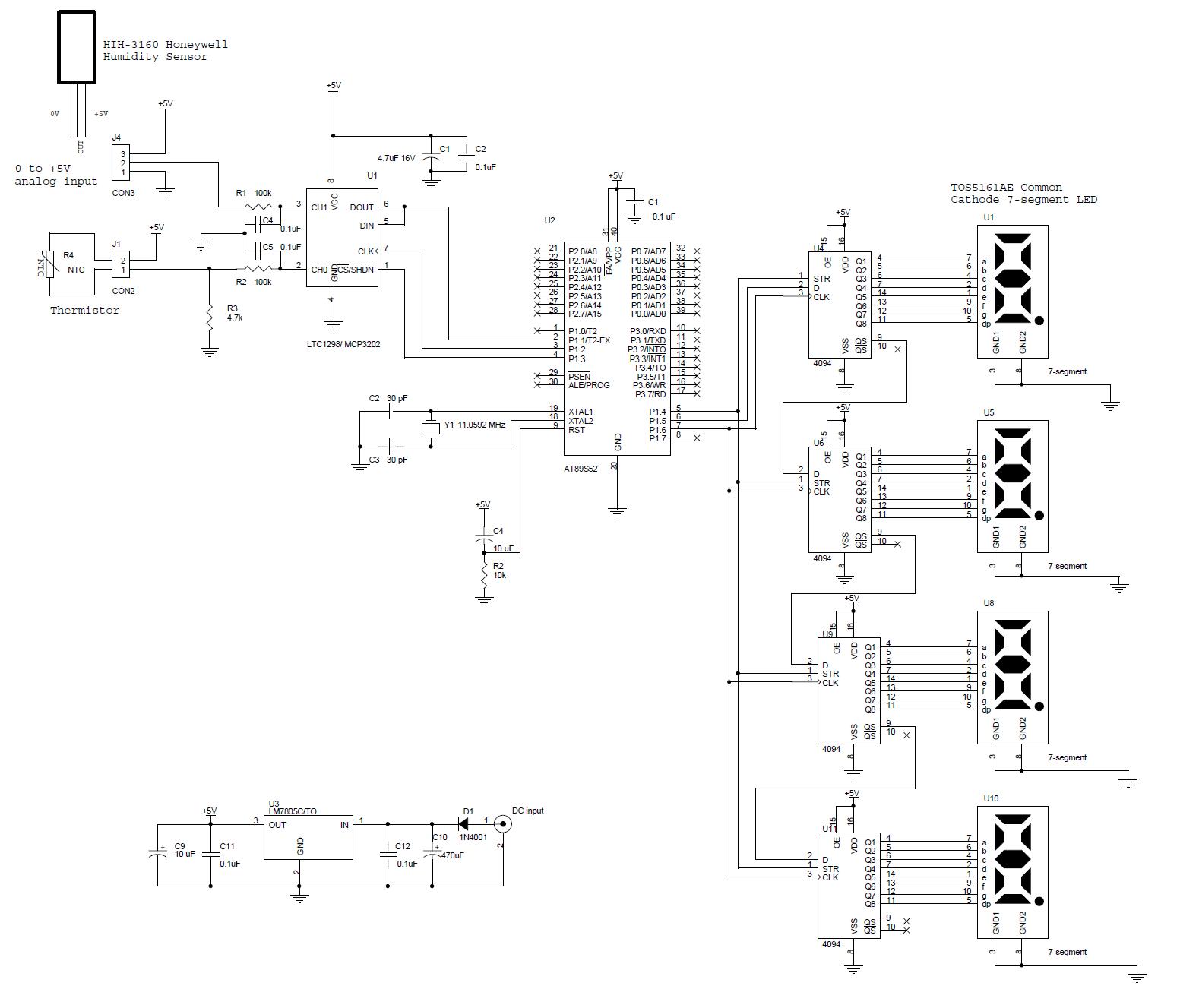 > circuits > Rangkaian Thermometer Berbasis Mikrokontroler
