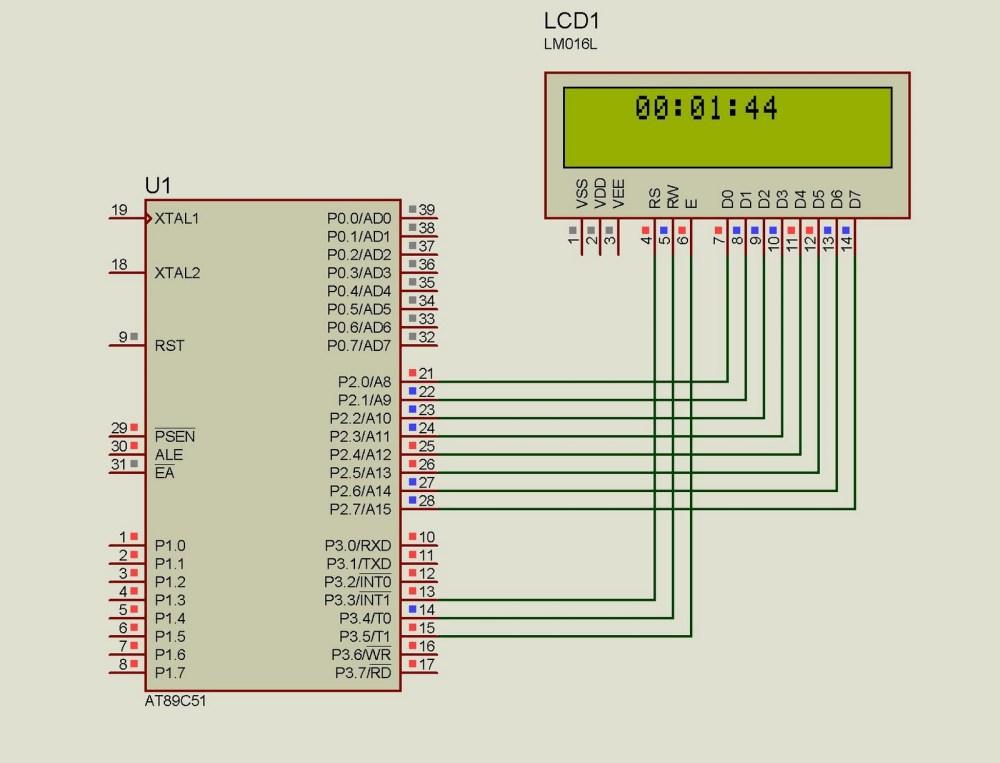 medium resolution of lcd clock using 8051 89s51 microcontroller