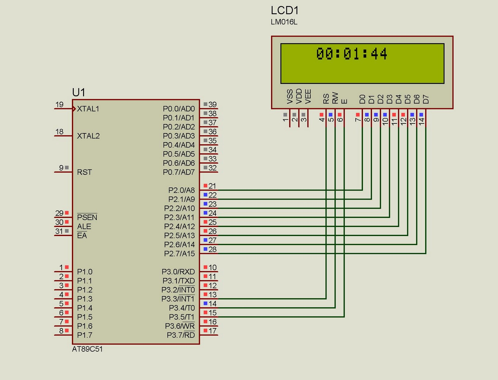 hight resolution of lcd clock using 8051 89s51 microcontroller