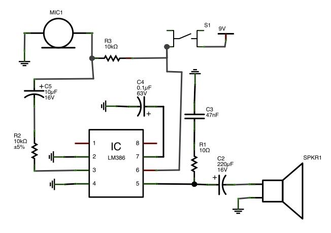 amplifier LM386 amp circuit lag