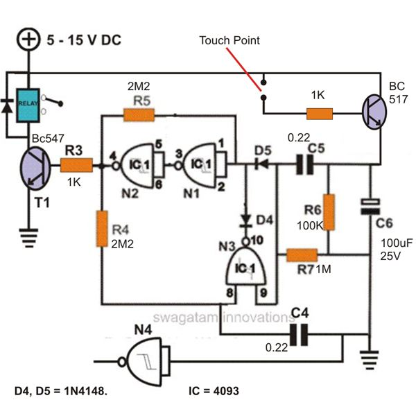 constuction of a simple touch sensitive switch circuit