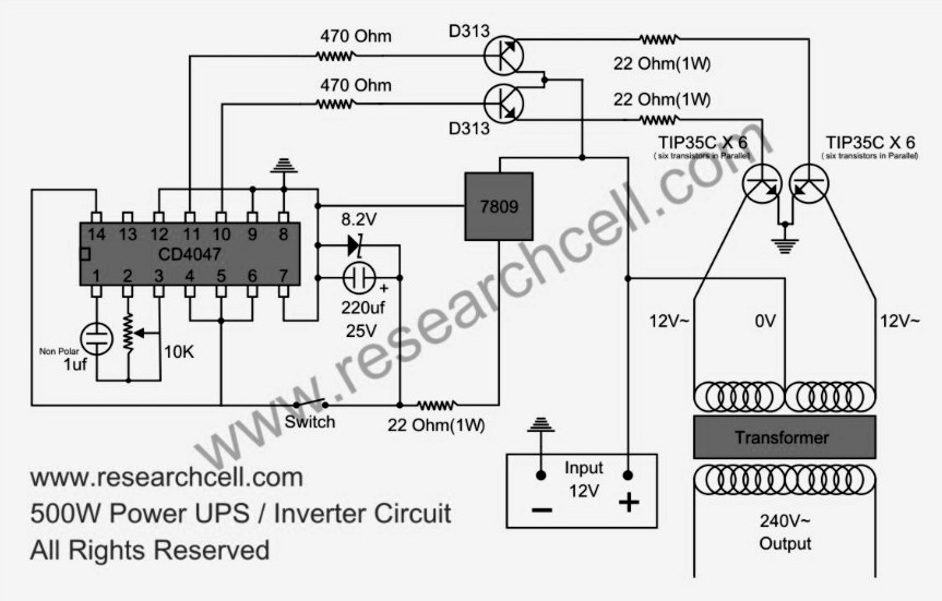 500w power inverter circuit diagram based tip35c under