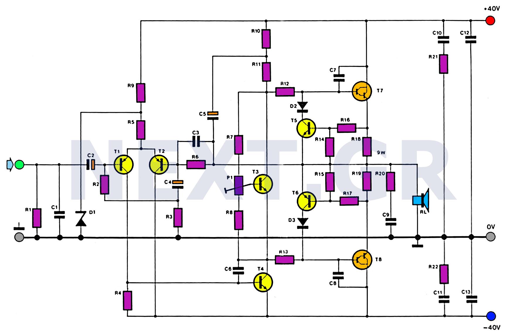 100w subwoofer amplifier circuit diagram afc neo wiring sr20det audio circuits next gr