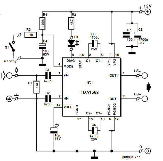> circuits > 50w audio amplifier using ic tda1562 l31069