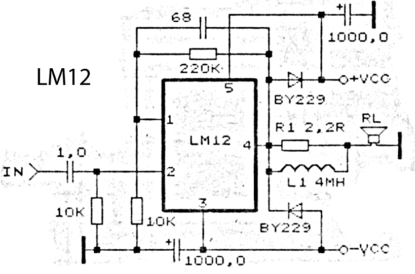 > circuits > LM12 High Power Amplifier circuit Schematic