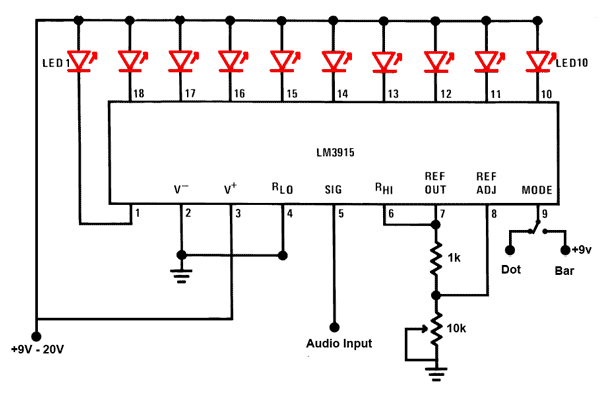 LED Sound level display circuit by using IC LM3915 under