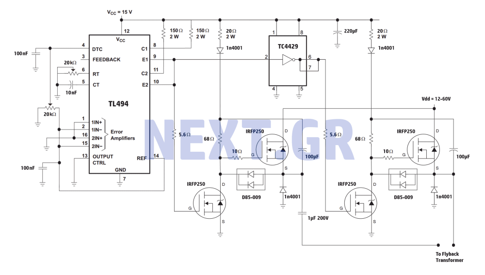 medium resolution of high power full bridge flyback driver circuit