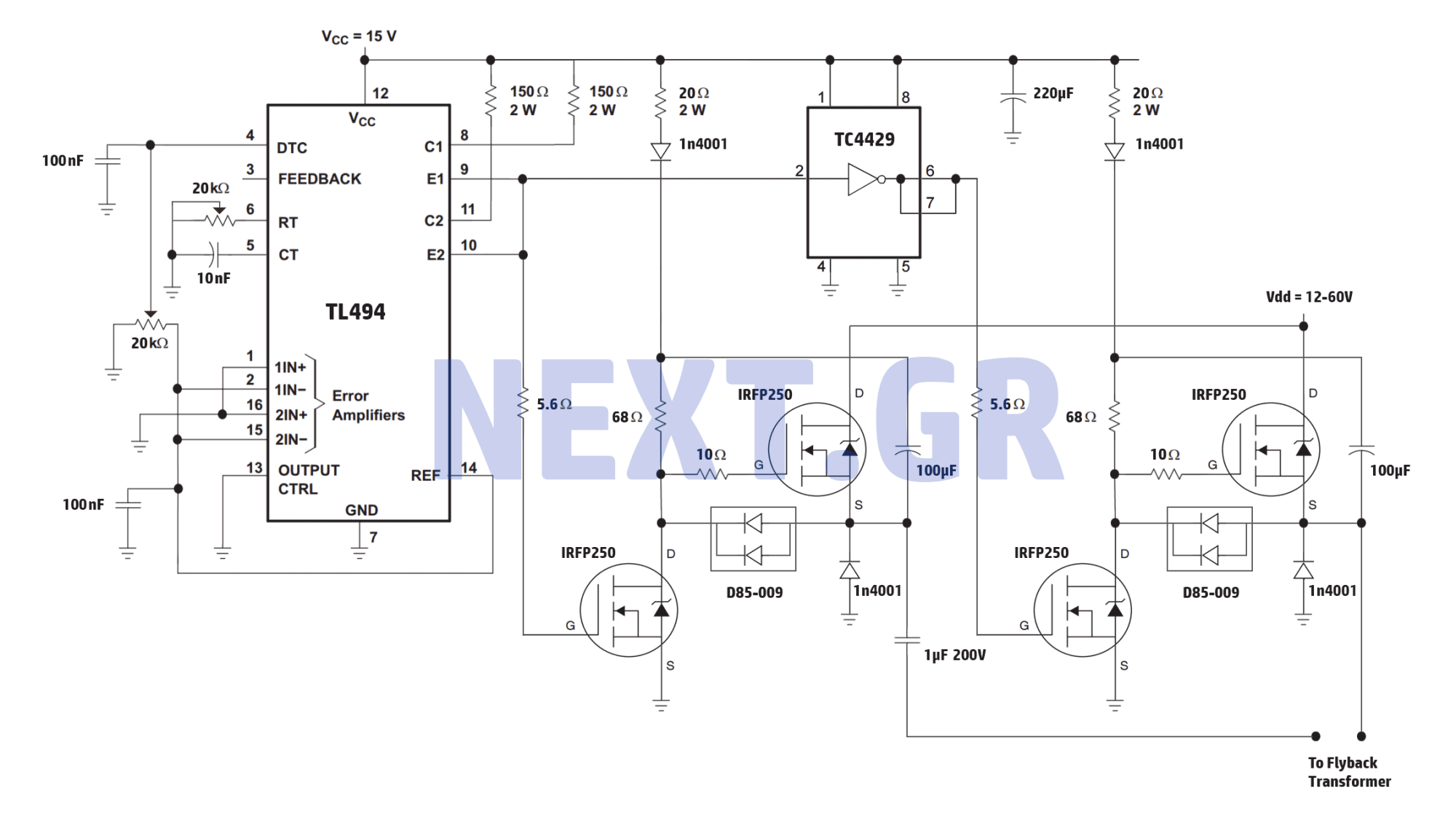 hight resolution of high power full bridge flyback driver circuit
