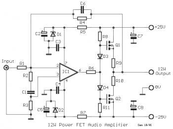 12W MOSFET Audio Amplifier 2SK135 / 2SJ50