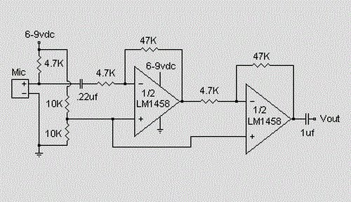 > circuits > Microphone Condenser Pre Amplifier Circuit