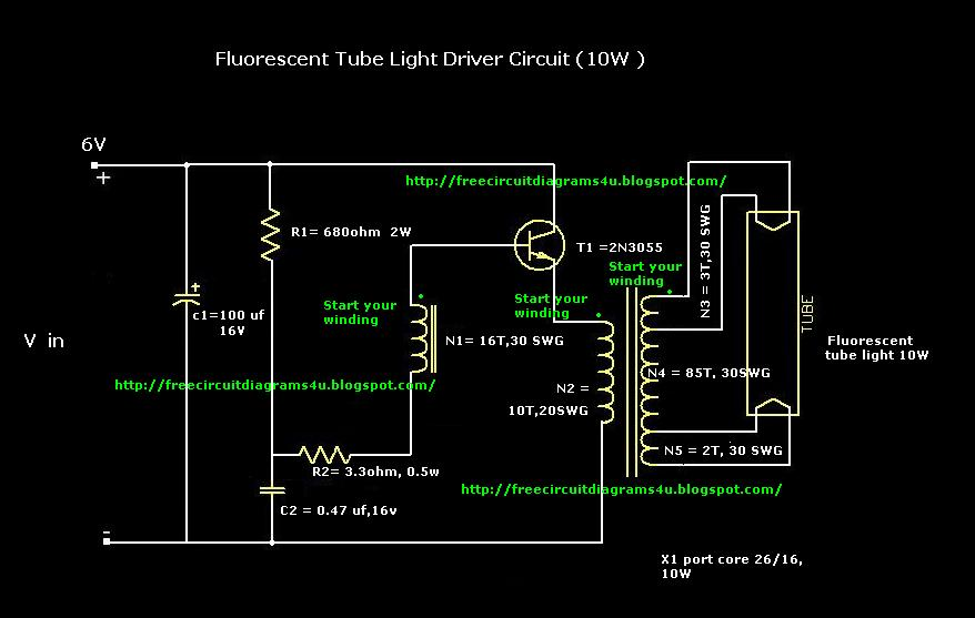 2 Ballast With 4 Lamps Wiring Diagram Fluorescent Circuit Page 2 Light Laser Led Circuits