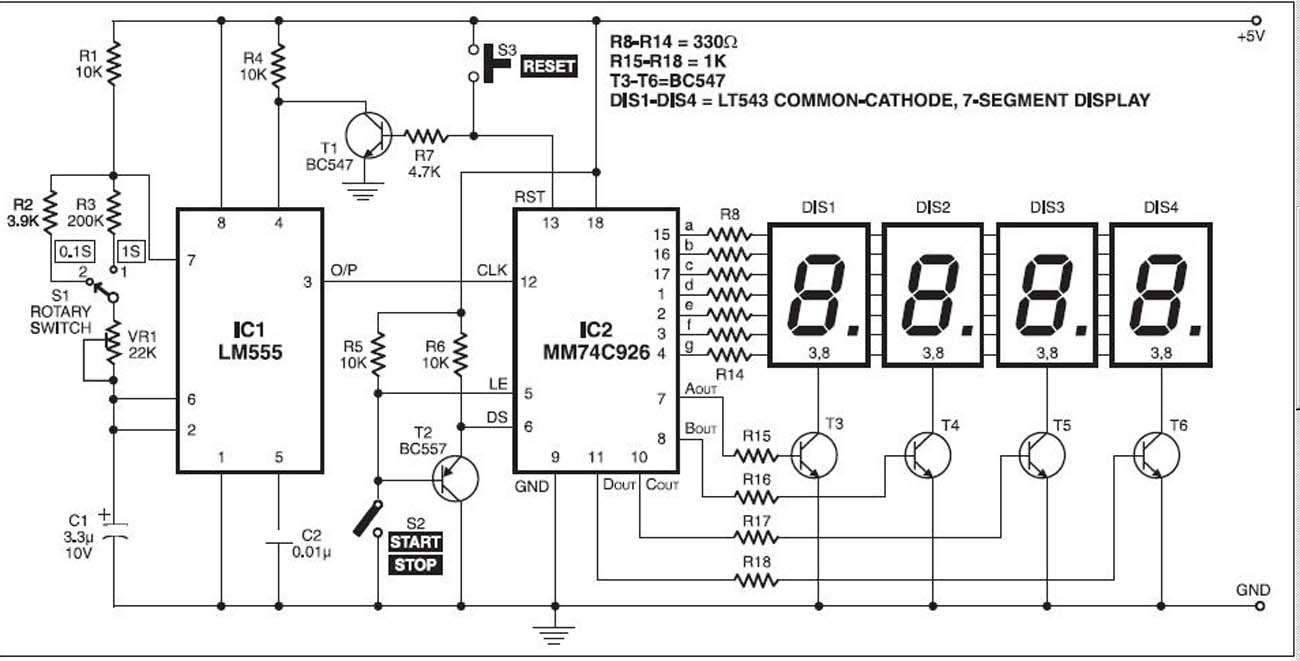 circuit diagram of digital stop watch counter