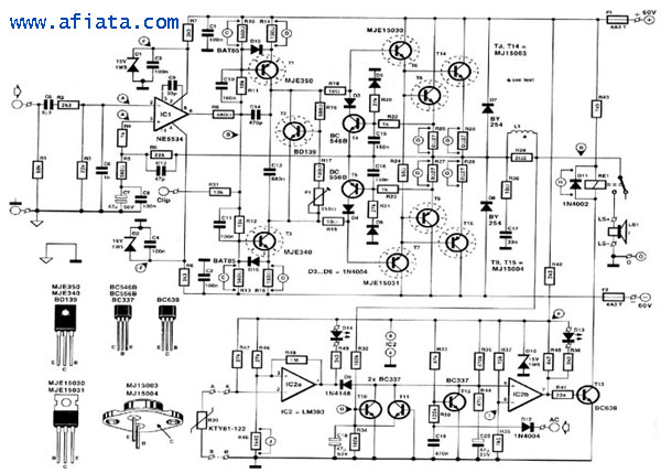 800w schematic diagram of 800 watt audio amplifier with