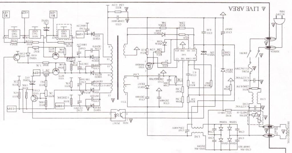 tv power supply schematic diagram