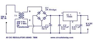 6 Volt regulator circuit using 7806Voltage regulator IC under Repositorycircuits 36976 : Nextgr