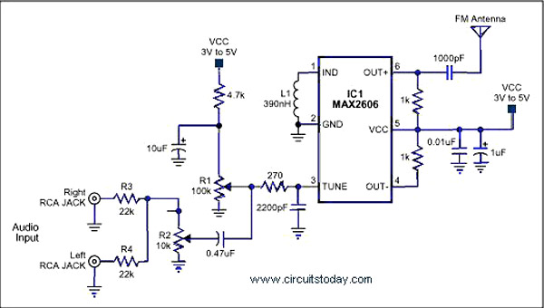 rf tx and rx circuit diagram rj45 to rj12 wiring > fm transmitters single chip transmitter using ic max 2606 l37258 - next.gr
