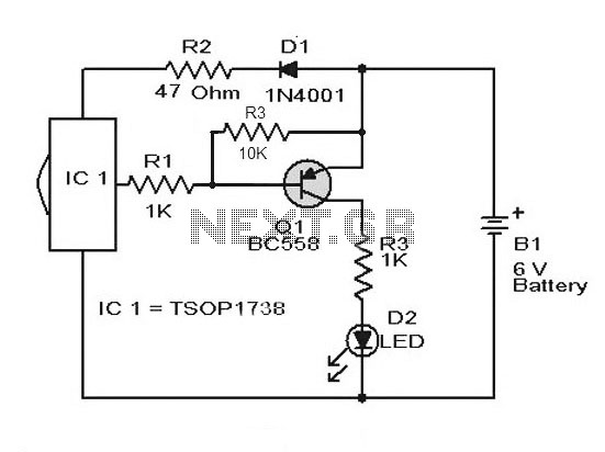 Remote Control Tester Circuit using Infra red sensor IC