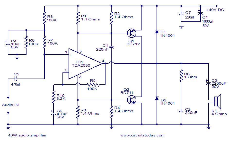 100 W Subwoofer Circuit Diagram 40w Audio Amplifier Under Repository Circuits 36961
