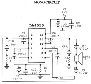 Audio Amplifier MonoCircuit With LA4555 IC