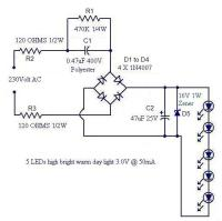 > circuits > A simple LED lamp circuit from scrap Uses 5 ...
