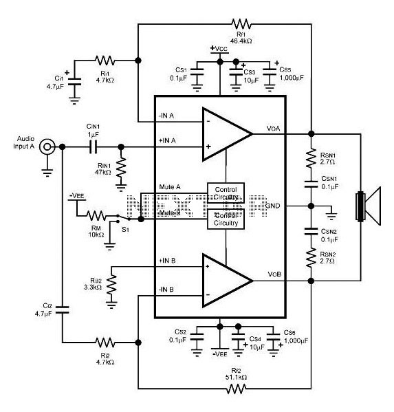 stereo amplifier circuit diagram