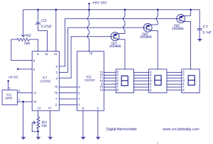 Digital thermometer circuit based on CA3162 CA3162 and LM35 under Repositorycircuits 37050