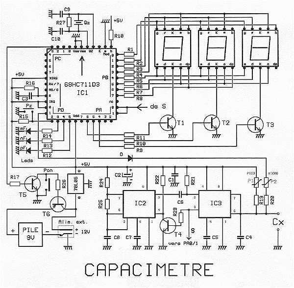 Capacitance Meter ( 68HC711D3FN ) under Meters Circuits