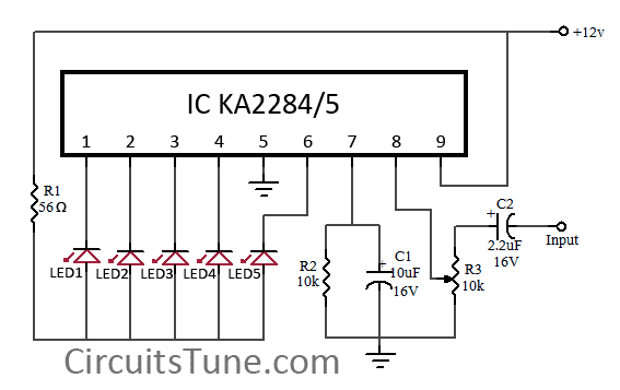 5 LED VU meter circuit diagram using KA2284 under