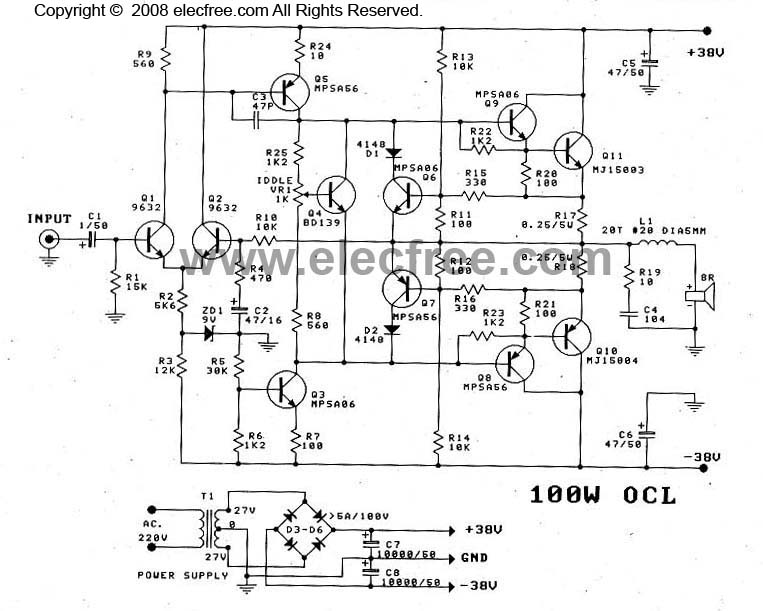 OCL Power Amplifier Circuit MJ15003MJ15004 Schematic