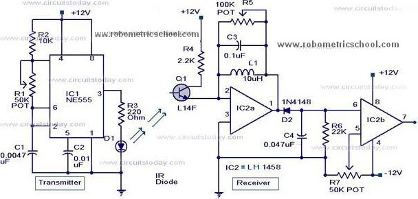 Moving Sensor / Detector Schematic Diagram using IC NE555