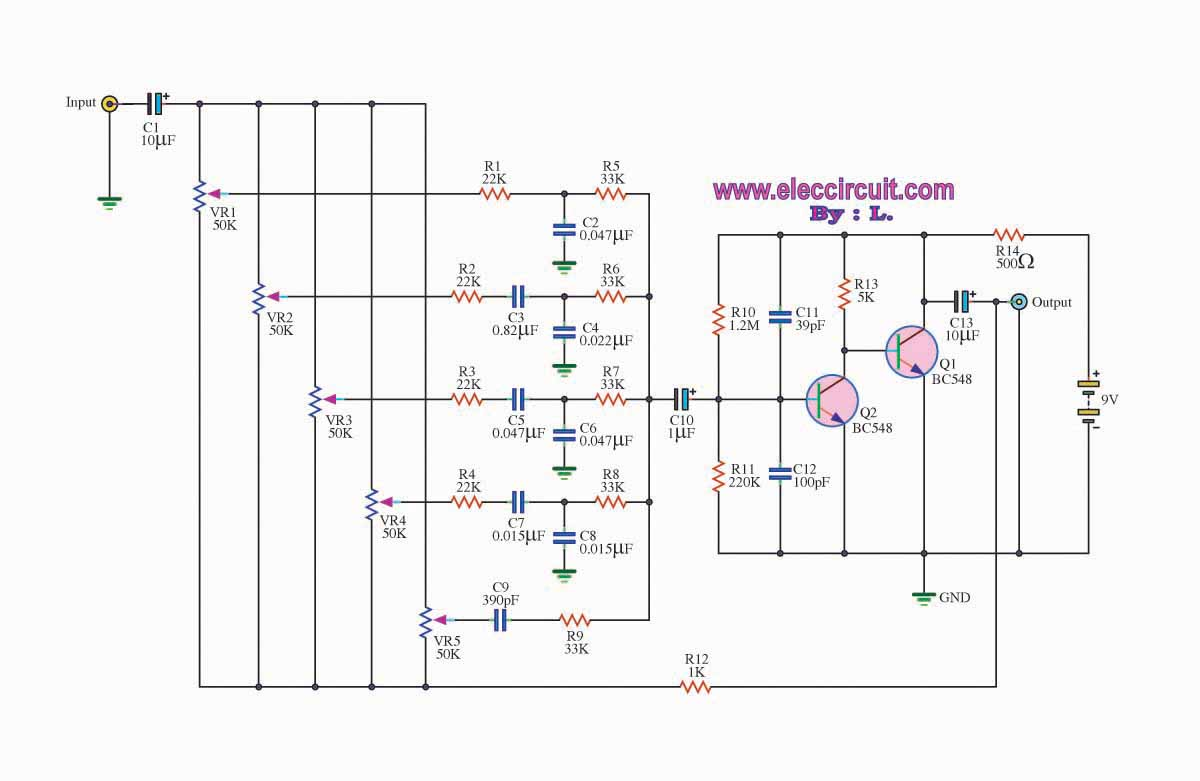 hight resolution of 5 channel graphic equalizer by bc548 transistor
