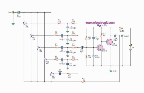 small resolution of 5 channel graphic equalizer by bc548 transistor