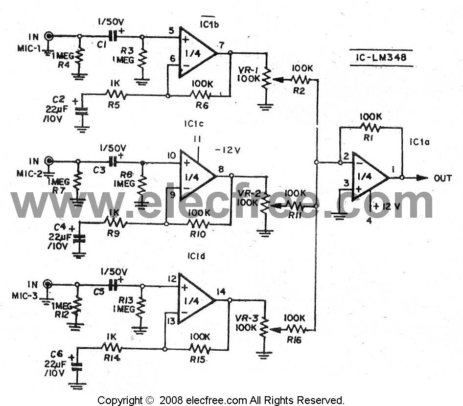 > circuits > The Mixer Pre MIC 3 channel by LM348 741G 4