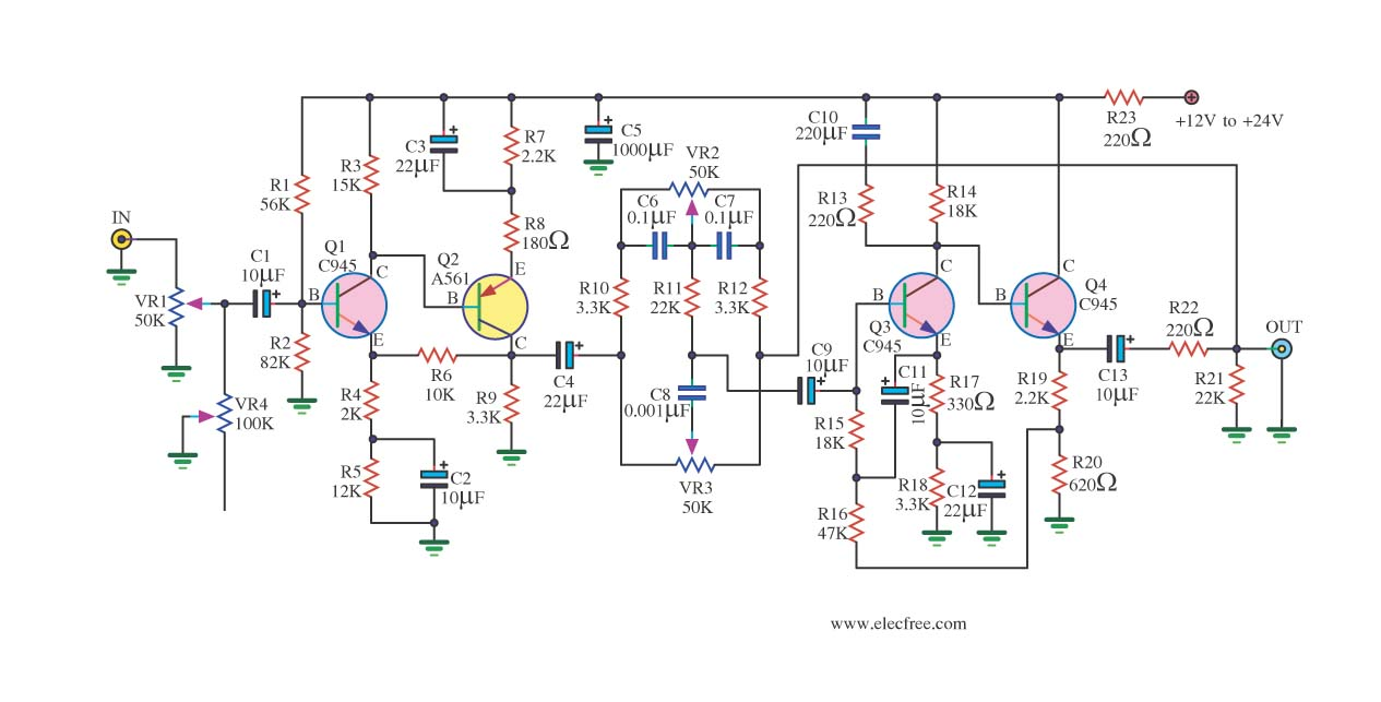 circuit diagram of non inverting amplifier mitsubishi eclipse wiring > circuits low noise tone control using c945 l40846 - next.gr