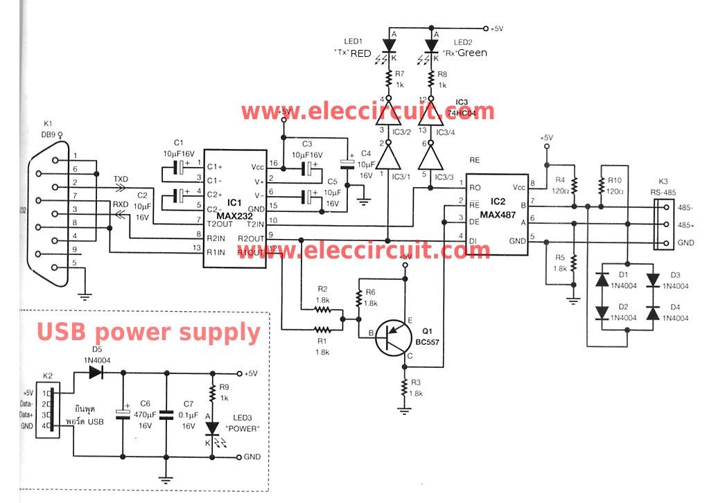 RS-232 to RS-485 converter circuit usin MAX487