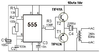 > circuits > 12V power inverter using 555 timer circuit