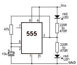 555 timer Led Flasher circuit electronic project under