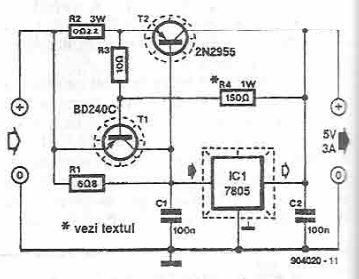 > circuits > 5 volts high current power supply using 7805