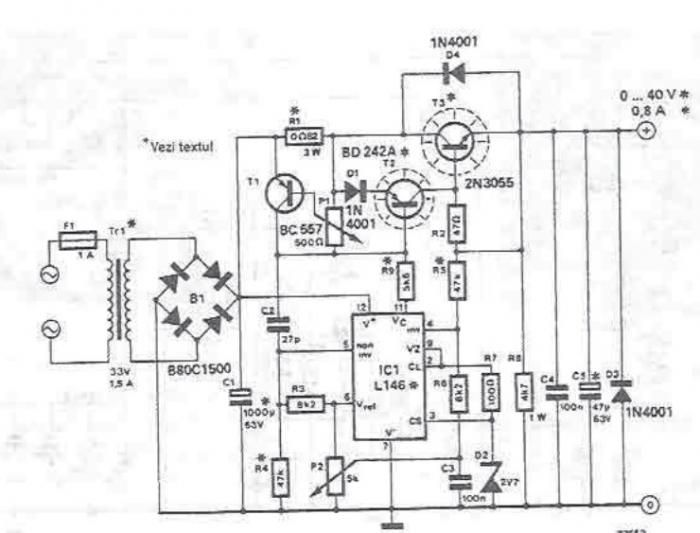 0-40V lab power supply circuit diagram electronic project