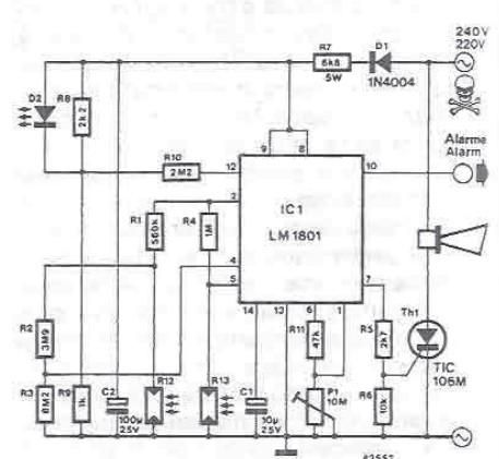 LM1801 smoke detector circuit design electronic project