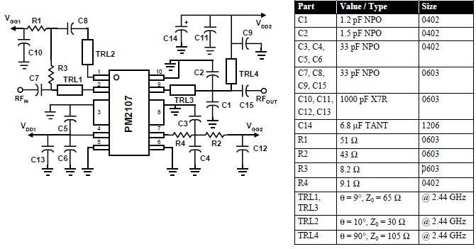> circuits > 2400 MHz RF amplifier circuit diagram using